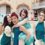 A vintage teal wedding at Victoria Baths in Manchester. Hair and makeup by www.rebeccaandert