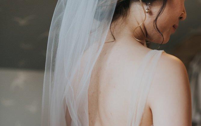 Bride wearing a veil