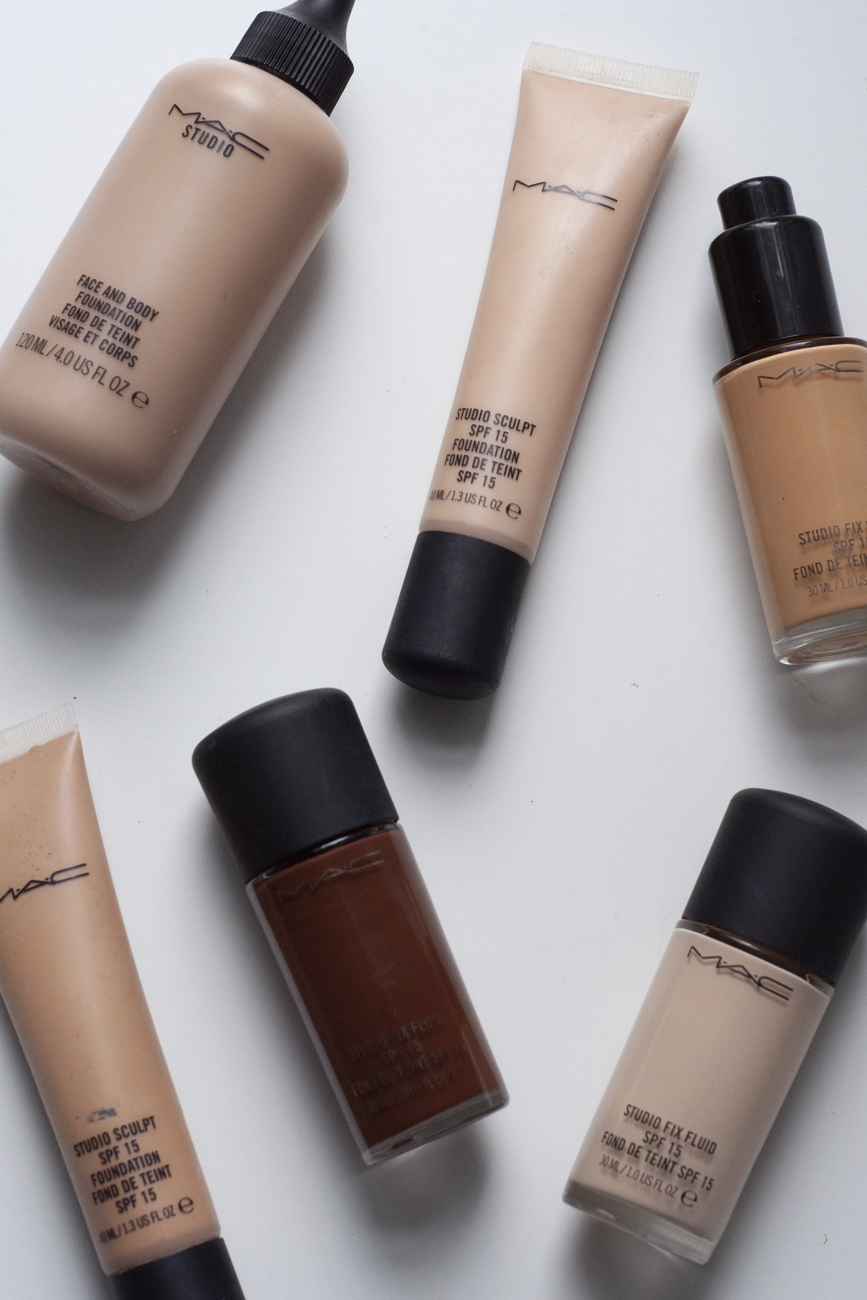 Foundations in a range of shades