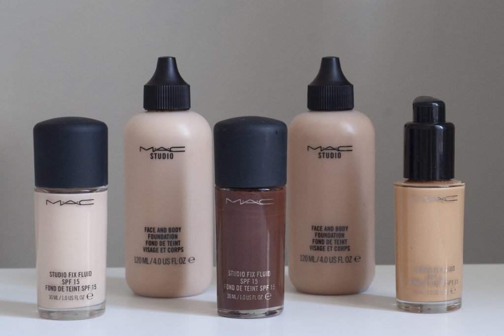 A range of foundation colours