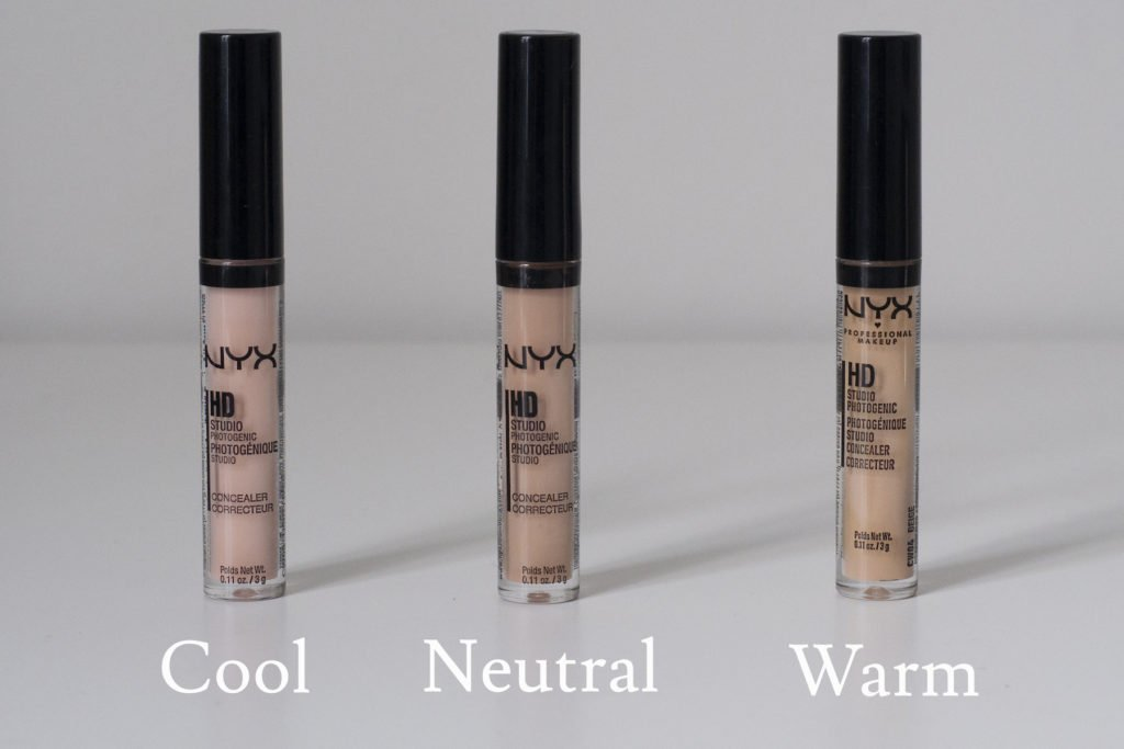 Concealers in cool, neutral and warm undertones